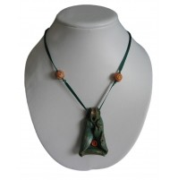 Verižica iz fimo mase - temno zelena/oranžna