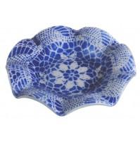 Steklena posodica - čipka - modra