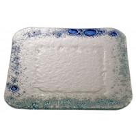 Stekleni krožnik - kvadrat - mali - turkizno/modri (komplet)