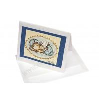 Voščilnica za rojstvo - fantek - modra