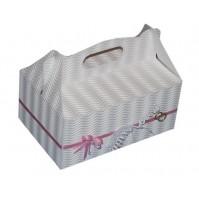 Poročna škatla za pecivo - belo/roza