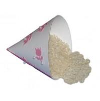Poročni stožec za riž/cvetne lističe - roza