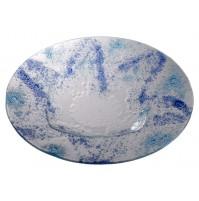 Steklena skleda - modro/turkizna