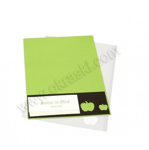 Poročna zahvala - zeleno jabolko 3