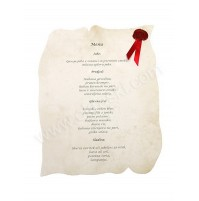 Poročna menu karta - natur/grajska