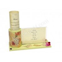 Poročna menu karta - zelena - orhideja/mozaik/lesena