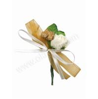 Poročni naprsni šopek - zlato/bel - manjši