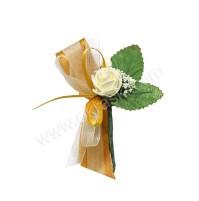 Poročni naprsni šopek - zlato/zelen - vrtnica 2