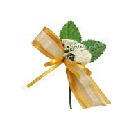 Poročni naprsni šopek - zlato/zelen - vrtnica 1