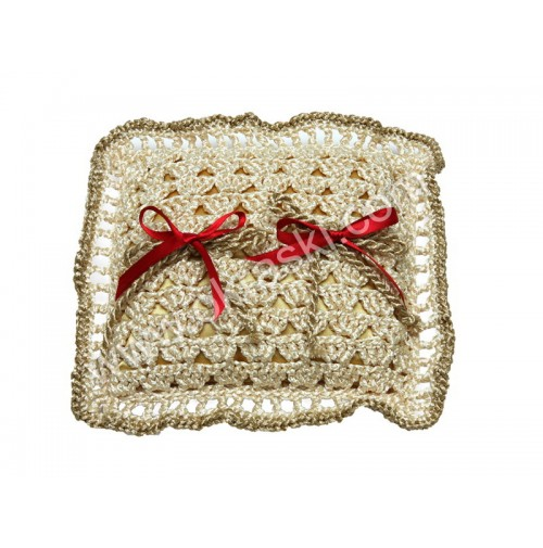 Poročna blazinica - kvačkano - bordo/grajska