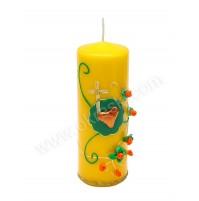 Poročna sveča - rumena/vrtnice