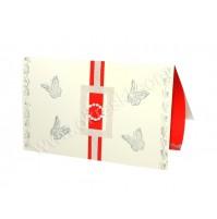 Poročna zahvala - rdeča/metulji