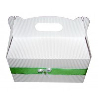 Poročna škatla za pecivo - belo/zelana