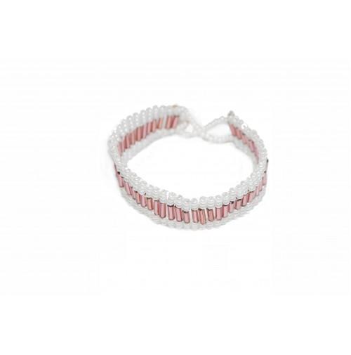 Zapestnica - (belo-roza)