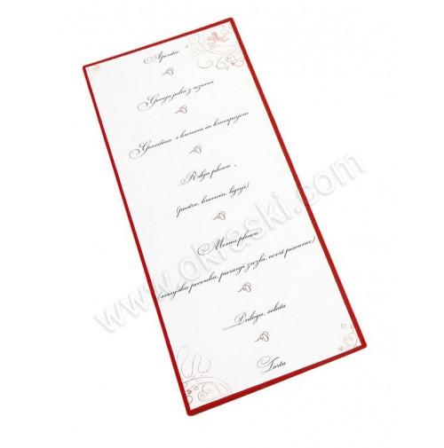 Poročna menu karta - rdeča/Amor