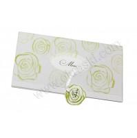 Poročna menu karta - zelena/vrtnice