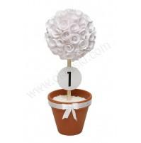 Oštevilčenje miz z dekoracijo - bele vrtnice