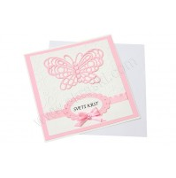 Vabilo - krst /roza - metuljček