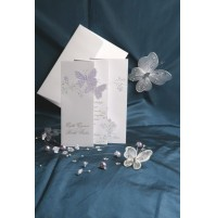 Vabilo - metulja z rožicami/harmonika