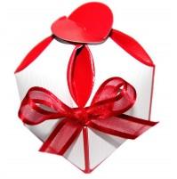 Poročni konfet - zaoblen/rdeč