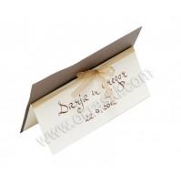 Kartica za sedežni red - rjava/kaligrafija
