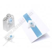 Poročni komplet - modra rožica