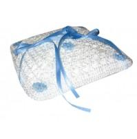 Poročna blazinica - kvačkano - kvadrat/modra