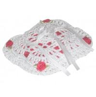 Poročna blazinica - kvačkano - rdeča/vrtnica