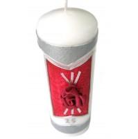 Poročna sveča - bordo/rdeča