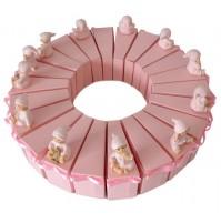 Krstni konfet - torta/roza