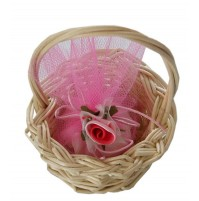 Poročni konfet - košarica/roza