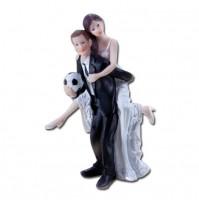 Poročna figura - ženin in nevesta - nogometaš/smešen