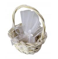 Poročni konfet - košarica/bela