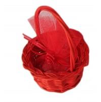 Poročni konfet - košarica/rdeč