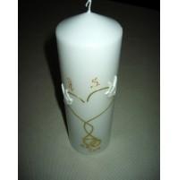 Poročna sveča - belo/zlata