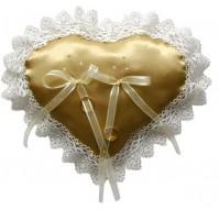 Poročna blazinica - srce/zlato-bež
