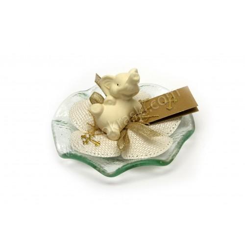 Krstni konfet - ležeči slonček/zlat