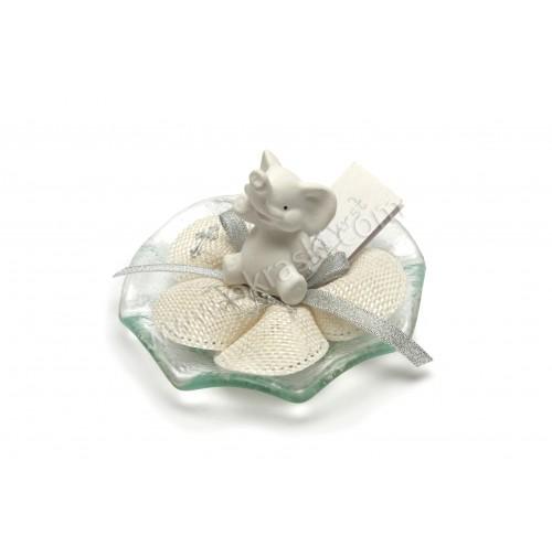 Krstni konfet - pokončni slonček/srebrni