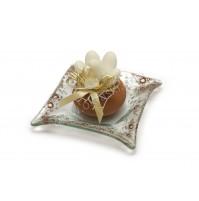 Poročni konfet - steklo - lonček z mandlji
