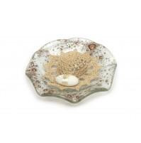 Poročni konfet - steklo - kvačkan klobuk