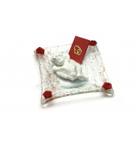 Poročni konfet - steklo - ležeči angel 01