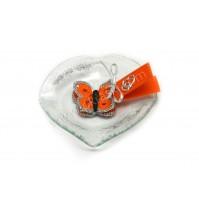 Poročni konfet - steklo - kvačkan metulj