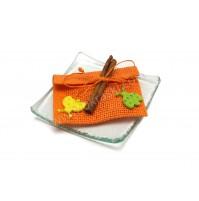 Poročni konfet - steklo - natur - oranž