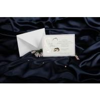 Vabilo - lila okvir in zlati srček in prstana
