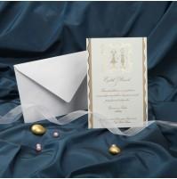Vabilo - belo z zlatim/poročni par